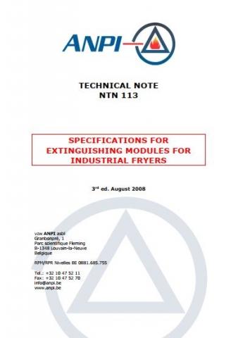 NTN 113 Fire extinguishers for industrial fryer