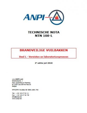 NTN 108-L Brandveilige vuilbakken : Deel L : Vereisten en laboratoriumproeven