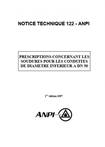 NTN 122 Prescriptions pour soudures pour conduites sprinkler
