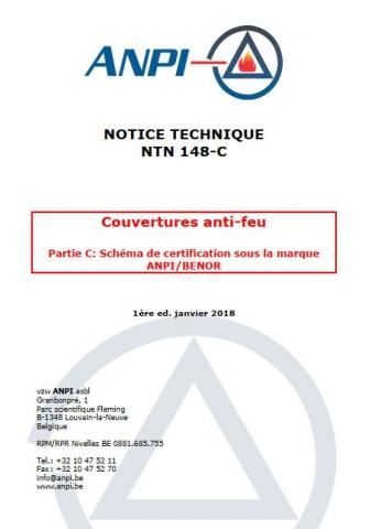 NTN 148-C Couvertures anti-feu : Partie C : Schéma de certification sous la marque ANPI/BENOR