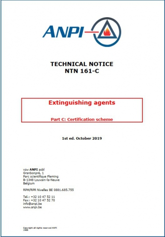 NTN 161-C Extinguishing agents : Part C : Certification scheme