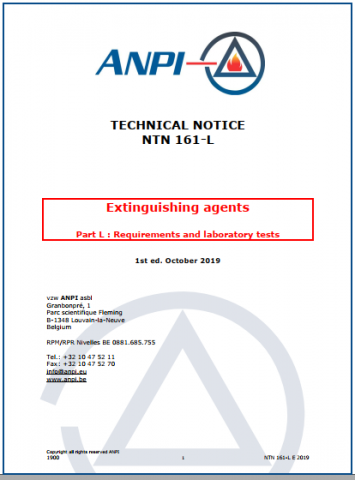 NTN 161-L Extinguishing agents : Part L : Requirements and laboratory tests