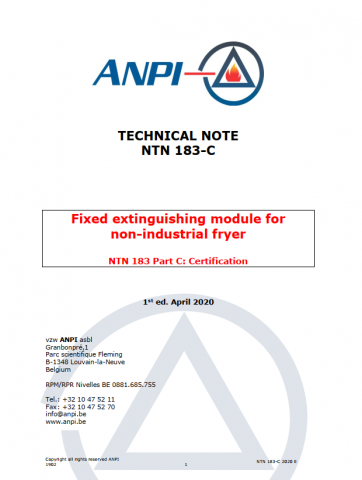 NTN 183-C  Fixed extinguishing module for non-industrial fryer
