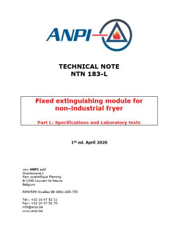NTN 183-L Fixed extinguishing module for non-industrial fryer Part L