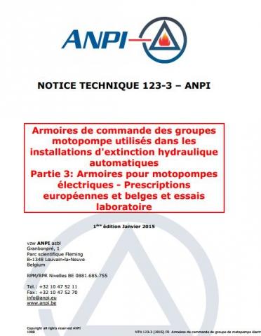 NTN 123-3 Installations d'extinction hydraulique automatique - 3: Armoires pour motopompes électriques - Prescriptions européennes et belges et essais laboratoire