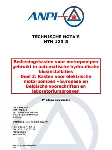 NTN 123-3 Automatische hydraulische blusinstallaties - 3: Kasten voor elektrische motorpompen - Europese en Belgische voorschriften en laboratoriumproeven