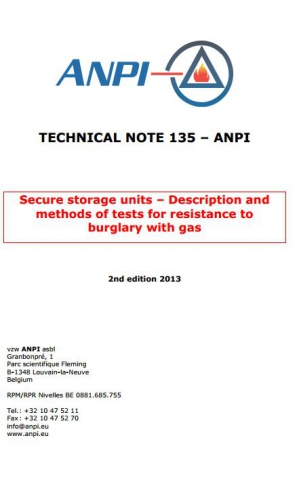 NTN 135 Secure storage units - Description and methods of tests for resistance to burglary with gas