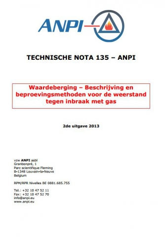 NTN 135 Waardeberging - Beschrijving en beproevingsmethoden voor de weerstand tegen inbraak met gas