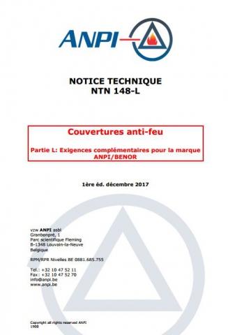 NTN 148-L Couvertures anti feu : L : Exigences complémentaires pour la marque BENOR / ANPI/ l