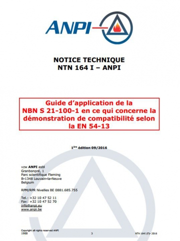 NTN 164-I Guide d'application de la NBN S 21-100-1 en ce qui concerne la démonstration de compatibilité selon la EN 54 -13