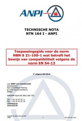 NTN 164-I Toepassingsgids van S 21-100-1 wat betreft het bewijs van compatibiliteit volgens EN 54-13