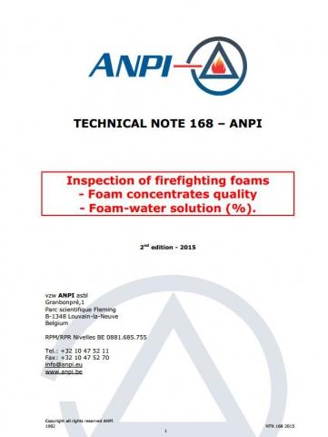 NTN 168 Inspection des mousses d'extinction - Concentrés des mousses et solutions eau mousse (E)