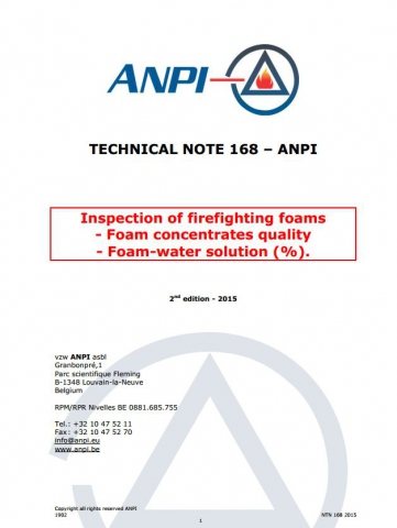 NTN 168 Inspection of firefighting foams - Foam concentrates quality - Foam-water solution (%) (E)