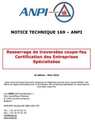 NTN 169 Resserrage de traversées coupe-feu - Certification des entreprises spécialisées