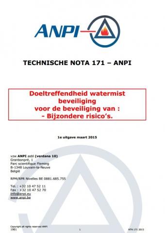 NTN 171  Efficacité des systèmes d'extinction par brouillard d'eau pour la protection contre les risques spéciaux (N)