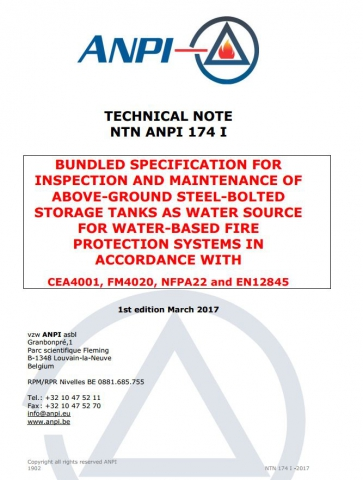 NTN 174-I  Inspection et des réservoirs de stockage hors sol en acier comme source d'eau